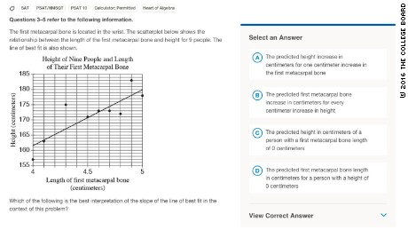 Students encountered math questions like this one from a sample test. The correct answer is A.