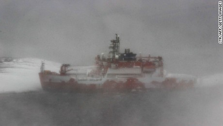 Australian icebreaker the Aurora Australis runs aground at Mawson Station in Antarctica on Thursday, February 25.