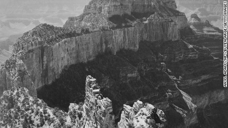 Close-in view of curved cliff, Grand Canyon National Park, Arizona, 1942. (Photo by Ansel Adams/NPS/Buyenlarge/Getty Images)