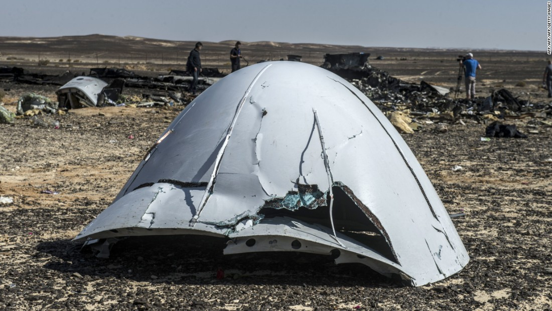 Debris of the A321 Russian airliner lie on the ground a day after the plane crashed in Wadi al-Zolomat, a mountainous area in Egypt's Sinai Peninsula, on November 1. A Russian passenger plane crashed on October 31, 2015, in Egypt's Sinai Peninsula, killing all 224 people aboard.