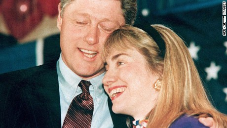 A 1992 photo shows then-Arkansas Gov. Bill Clinton, left, and his wife Hillary, right, embracing.