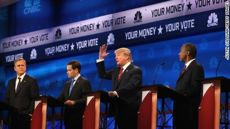 Presidential candidates Donald Trump speaks while Sen. Marco Rubio (R-FL), Jeb Bush, and Ben Carson  look on during the CNBC Republican Presidential Debate at University of Colorados Coors Events Center October 28, 2015 in Boulder, Colorado.