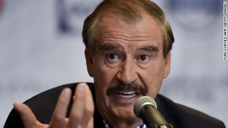 Former Mexican President Vicente Fox (2000-2006) gestures during a briefing with international press at a hotel in Mexico City on September 22, 2014.