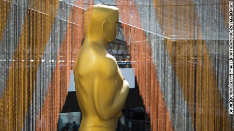 HOLLYWOOD, CA - FEBRUARY 24:  The primary Oscar statue overlooks the red carpet arrivals area as preparations are made for the 88th Annual Academy Awards at Hollywood & Highland Center on February 24, 2016 in Hollywood, California.   (Photo by David McNew/Getty Images)