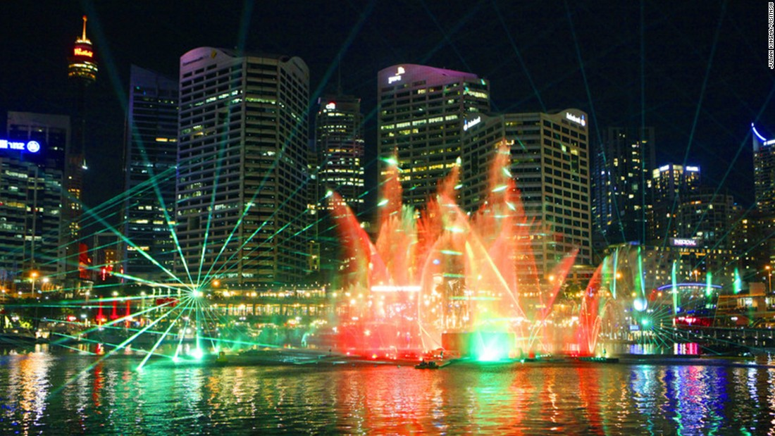 "Colorful lights and dynamic jets of water join in the symphony at the <a href=""http://www.vividsydney.com/event/light/vivid-laser-fountain-water-theatre"" target=""_blank"">Vivid Laser-Fountain Water Theater</a> at Darling Harbor. Shows kick off on May 22 and run to June 8."