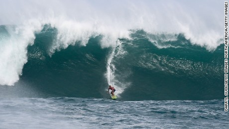 Professional surfer John John Florence at Quiksilver in Memory of Eddie Aikau in Waimea, Hawaii.