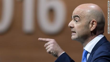 FIFA presidential contender Gianni Infantino addresses delegates
