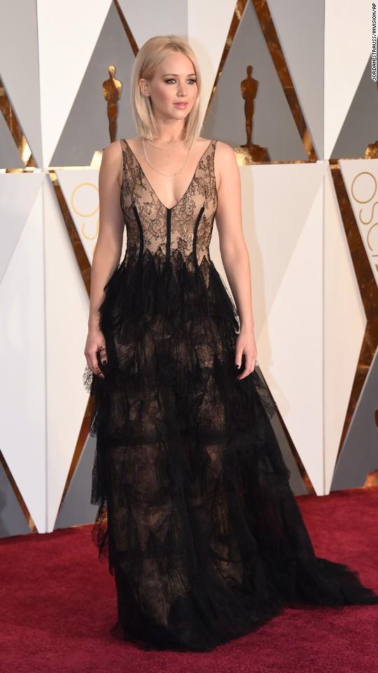 Actress Jennifer Lawrence arrives for the Academy Awards on Sunday, February 28.