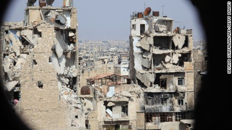 Aleppo's regime-controlled neighbordhood of Karm al-Jabal in July 2015 after heavy bombardment.