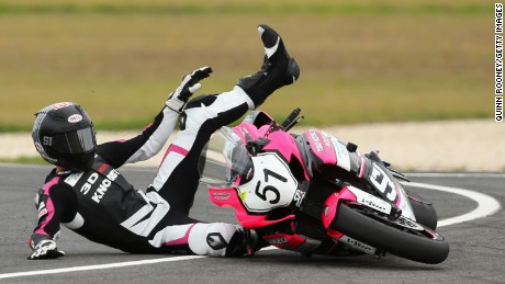 PHILLIP ISLAND, AUSTRALIA - FEBRUARY 28:  Brayden Elliott of Australia crashes on his #51 Suzuki GSX-R during the Australian Superbike Championship of round one of the 2016 World Superbike Championship at Phillip Island Grand Prix Circuit on February 28, 2016 in Phillip Island, Australia.  (Photo by Quinn Rooney/Getty Images)