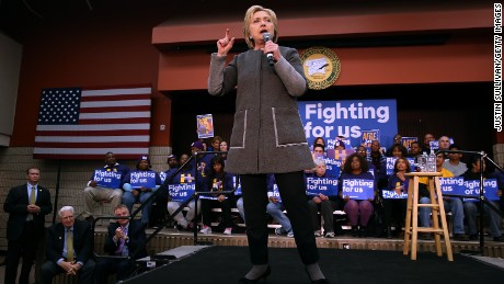 """Democratic presidential candidate former Secretary of State Hillary Clinton speaks during a """"Get Out The Vote"""" event at George Mason University on February 29, 2016 in Fairfax, Virginia."""