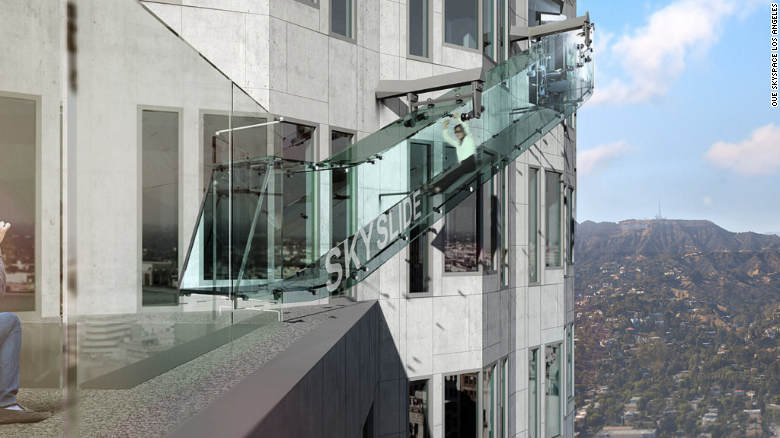 U.S. Bank Tower plans to incorporate a glass slide that shows a view of downtown Los Angeles and suspends the visitor about 1,000 feet above ground.