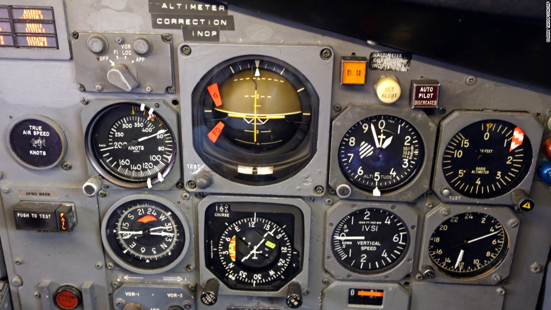 Inside the 727's restored cockpit, this instrument panel shows traditional gauges that told pilots the plane's speed, direction, altitude and its relation to the horizon. From 1963 to 1991, this airliner logged 64,495 hours of flight time.