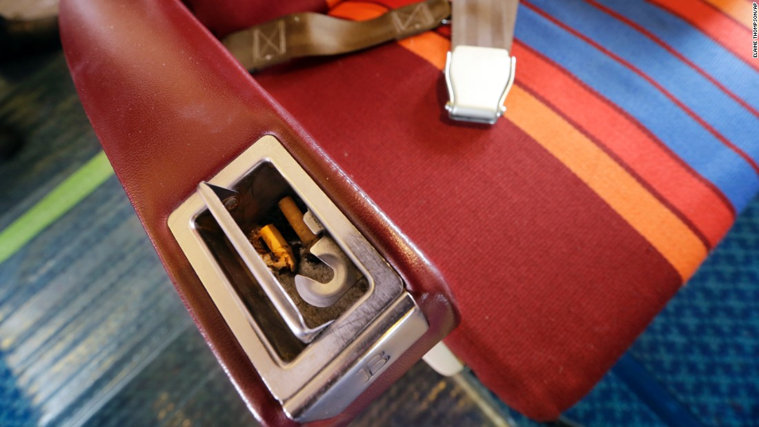 For a bit of authenticity, the museum placed cigarette stubs in an ashtray in the cabin's first class section. Since 2000, all flights between the United States and other nations have been smoke free, by law.