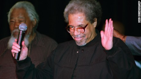 """Albert Woodfox arrives on stage during his first public appearance at the Ashe Cultural Arts Center in New Orleans, Friday, Feb. 19, 2016 after his released from Louisiana State Penitentiary in Angola, La. earlier in the day. Woodfox is the last of three high-profile Louisiana prisoners known as the """"Angola Three"""" to be released.  (AP Photo/Max Becherer)"""