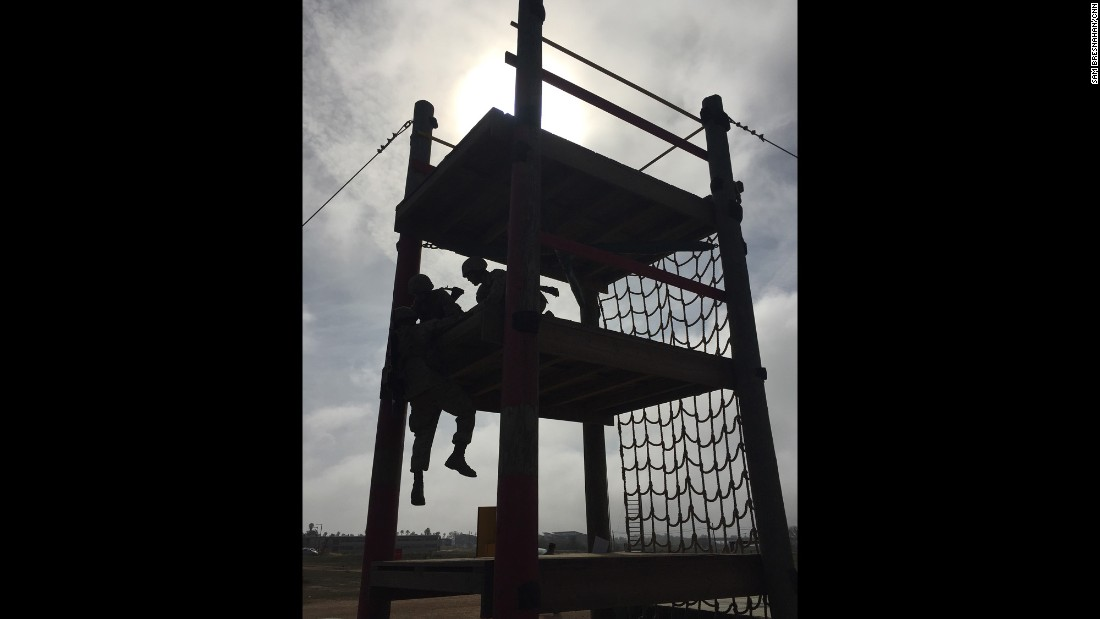 """MCB CAMP PENDLETON, CALIFORNIA: """"During the crucible they only get 3 meals over the 54 hours and 2 periods of 4-hour sleep sessions. The rest of the time are constant physical and mental challenges, culminating in an 8-mile hike up 'the reaper,' where they officially become Marines at the top of the mountain."""" - CNN's Samantha Bresnahan <a href=""""http://instagram.com/instasam22"""" target=""""_blank"""">@instasam22</a>."""