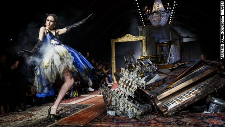 Dresses were literally smoking at Moschino's Autumn-Winter 2016 runway show in Milan, inspired by the real-life events of the Bonfire of The Vanities in Italy in 1497.