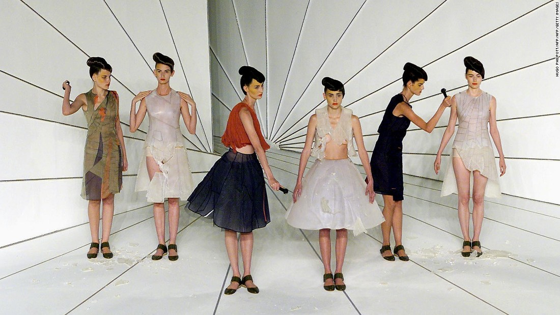 The impermanence of clothing is a theme that has run through many of Hussein Chalayan's collections. At the finale of this Spring-Summer 2001 show models used hammers to break each others' outfits.