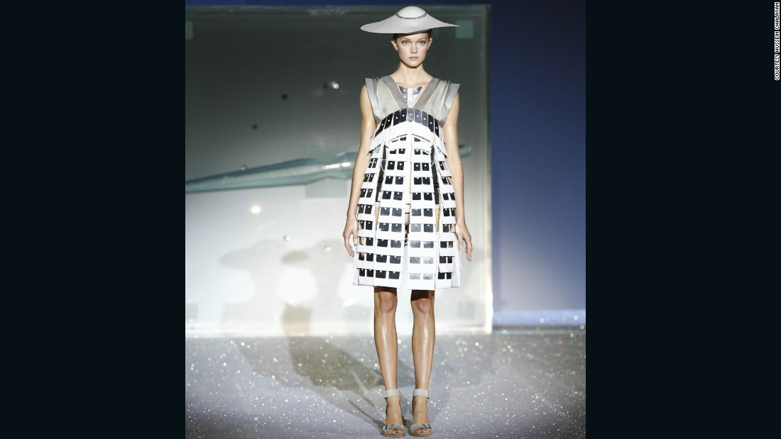 The dresses were wired with hidden mechanics to transform. The final dress revealing a completely nude model.