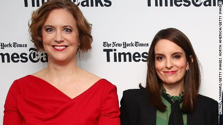 NEW YORK, NY - MARCH 02:  (L-R) Reporter Kim Barker, actress Tina Fey, screenwriter Robert Carlock and New York Times culture reporter Melena Ryzik attend TimesTalks presents 'Whiskey Tango Foxtrot'  at Florence Gould Hall on March 2, 2016 in New York City.  (Photo by Astrid Stawiarz/Getty Images)