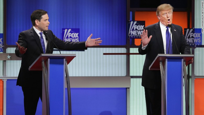 DETROIT, MI - MARCH 03: Republican presidential candidates (Lto R) Sen. Marco Rubio (R-FL) and Donald Trump participate in a debate sponsored by Fox News at the Fox Theatre on March 3, 2016 in Detroit, Michigan. Voters in Michigan will go to the polls March 8 for the State's primary.