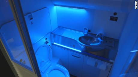 Boeing's self-cleaning lavatory prototype promises to kill 99.99 percent of all germs with UV lights -- and eliminate smells.