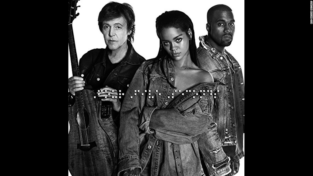 """Rihanna's collaboration with Paul McCartney and Kanye West, """"fourfiveseconds,"""" was released January 24, 2015, with the only advance word a hint from West a few days earlier."""