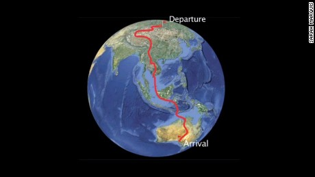 Marquis' route took her 10,000 miles across the globe.