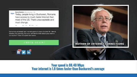 Some Romanians took offense at a Bernie Sanders tweet and started a website for comparing Internet connection speeds.