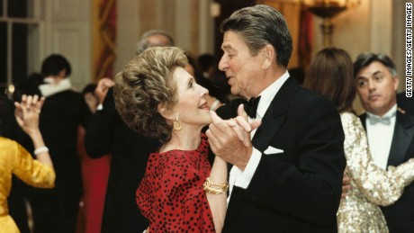 Former U.S. President Ronald Reagan dances with former First Lady Nancy Reagan in this undated file photo. Reagan turns 92 on February 6, 2003.