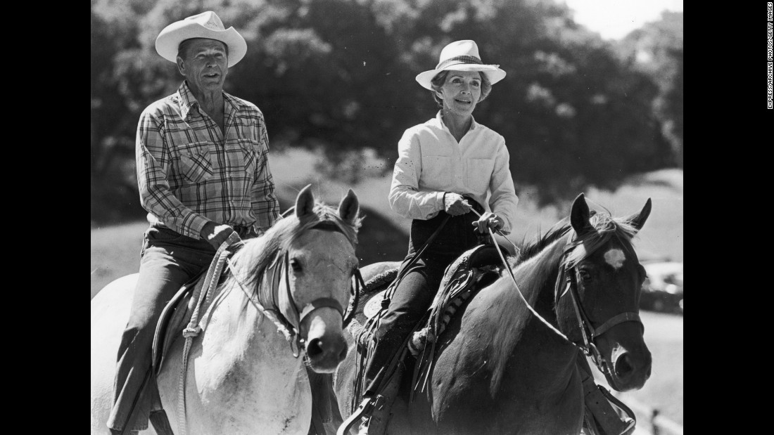 The Reagans ride horses on January 10, 1981.