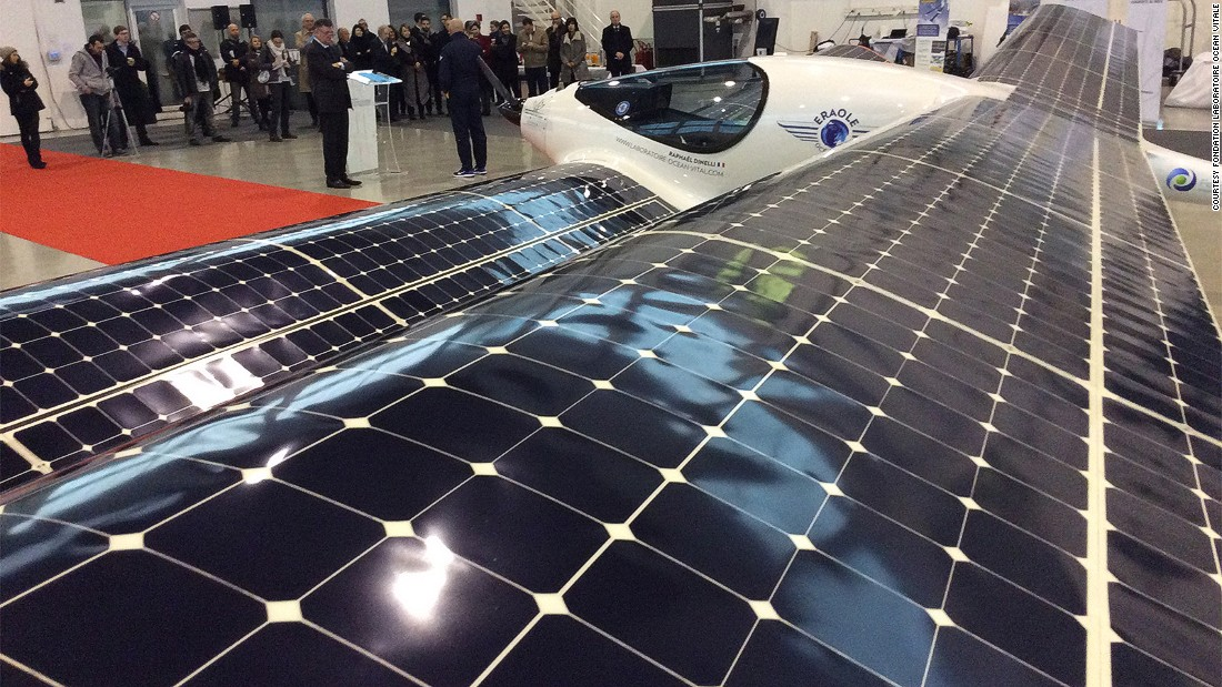 It's powered by an electric engine fed by large solar panels spread over its wings.