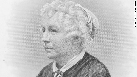 circa 1875: Elizabeth Cady Stanton (1815-1902). American reformer and suffragette who, along with Lucretia Mott and Susan B Anthony, was an early crusader and spokesperson for women's rights. She was an editor of the feminist magazine 'Revolution' and her own writings include 'Eighty Years and More'. Engraving by HB Hall. (Photo by Hulton Archive/Getty Images)