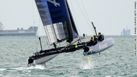 PORTSMOUTH, ENGLAND - JULY 23:  Team Artemis, skippered by Nathan Outteridge, in action during Day One of the Louis Vuitton America's Cup World Series on July 23, 2015 in Portsmouth, England.  (Photo by Mike Hewitt/Getty Images)