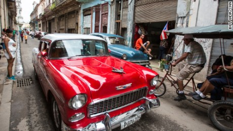 A 1955 Chevy Bel Air Ð one of thousands of old American cars that still fill the streets of Havana. Cubans lucky enough to keep the cars pristine and running now ferry tourists around town for $40/hour Ð twice what the average Cuban earns in a month.