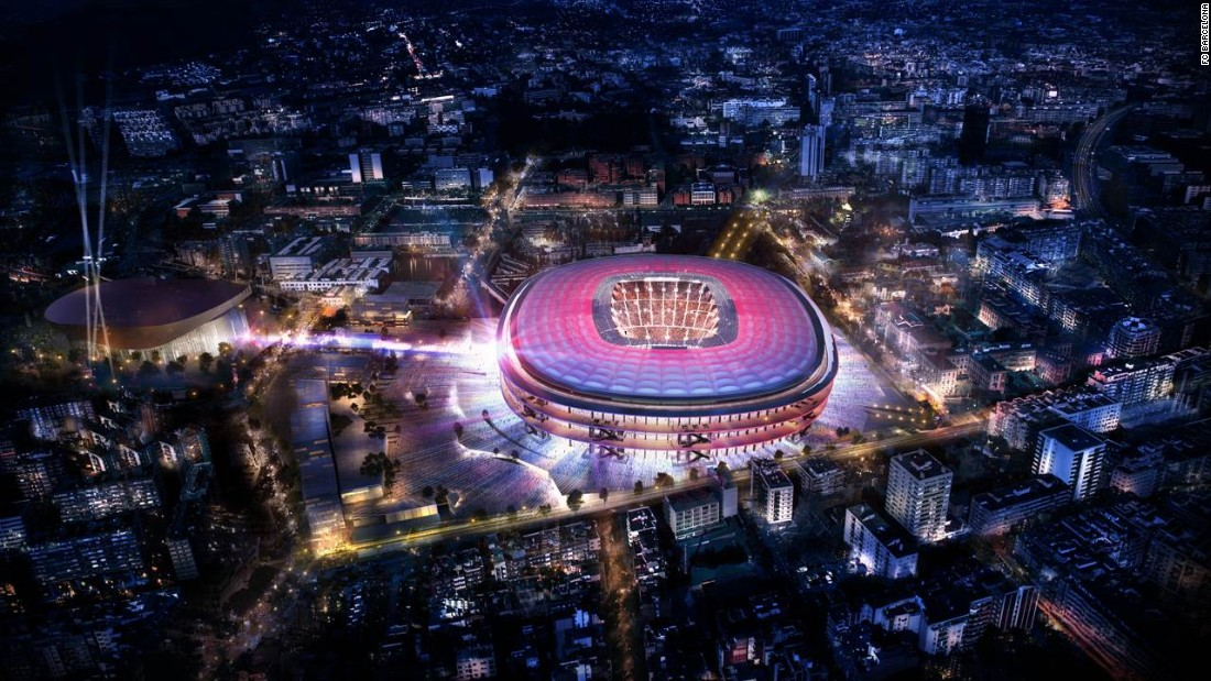 """The Camp Nou stadium, home to Spanish champion Barcelona, is getting an upgrade and the club has released images of the new design. Work is due to completed in the 2021/22 season. """"The proposal stands out for being open, elegant, serene, timeless, Mediterranean and democratic,"""" a club statement said."""