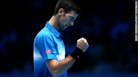 LONDON, ENGLAND - NOVEMBER 21:  Novak Djokovic of Serbia celebrates a point during his straight sets victory against Rafael Nadal of Spain during the men's singles semi final match on day seven of the Barclays ATP World Tour Finals at O2 Arena on November 21, 2015 in London, England.  (Photo by Clive Brunskill/Getty Images)