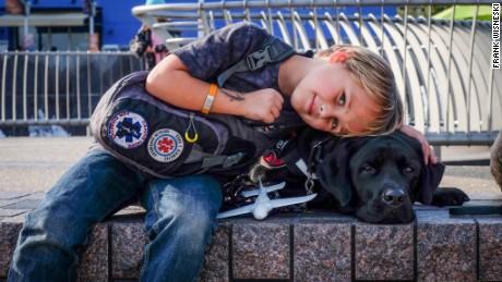 Luke Nuttall and his diabetic alert dog, Jedi.