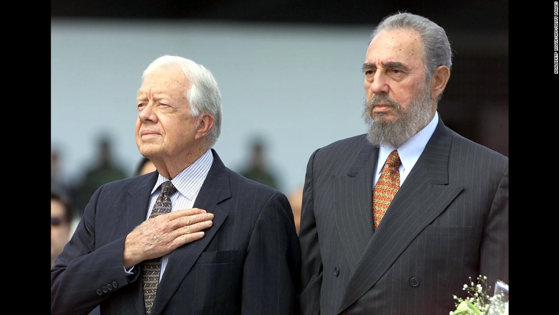 Former U.S. President Jimmy Carter, left, visits Cuba in 2002. He was invited by Cuban President Fidel Castro, right, and the two men shook hands at the State Council in Havana. This month, President Barack Obama will be the first sitting U.S. leader to visit Cuba since Calvin Coolidge in 1928. But the nation has been far from isolated. Here are other world leaders, religious figures and big-time celebrities who have been to the Caribbean island.