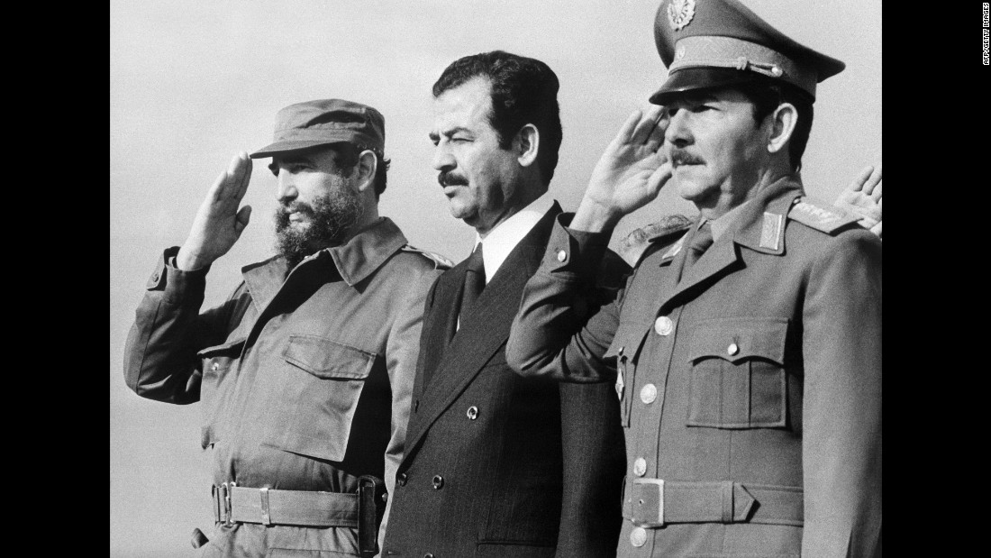 Fidel Castro enjoyed a close relationship with many Middle Eastern heads of state. One of them was Iraqi President Saddam Hussein. Hussein's first visit to Cuba was in 1979, when he was vice president.