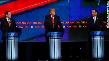 Republican Presidential candidates (L-R) Marco Rubio, Donald Trump and Ted Cruz participate in the CNN Presidential Debate March 10, 2016 in Miami.