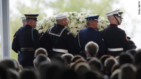 Pallbearers carry the casket of former first lady Nancy Reagan during funeral services at the Ronald Reagan Presidential Library March 11, 2016, in Simi Valley, California.