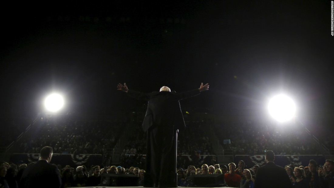 Democratic presidential candidate Bernie Sanders speaks at a campaign rally in Ann Arbor, Michigan, on Monday, March 7.