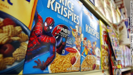 "Rice Krispies boxes with a ""Spider-Man"" promotion sit on a shelf May 2002 in New York City."