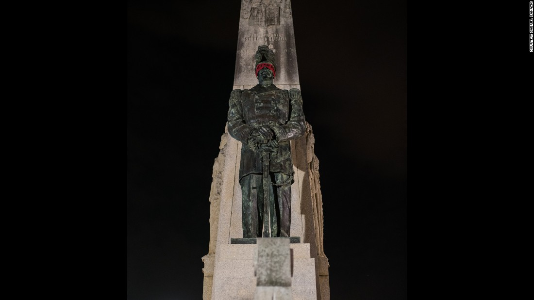 The statue of Brazilian Navy Adm. Saldanha da Gama was one of the statues blindfolded on Saturday morning. Da Gama was killed in action during one of Brazil's earliest civil war.