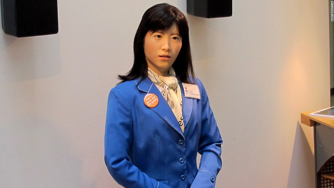 Robot receptionist ChihiraKanae, created by engineers at Toshiba, made a recent appearance in Berlin. She speaks 19 languages and, as she's fond of telling random strangers, is a Gemini.