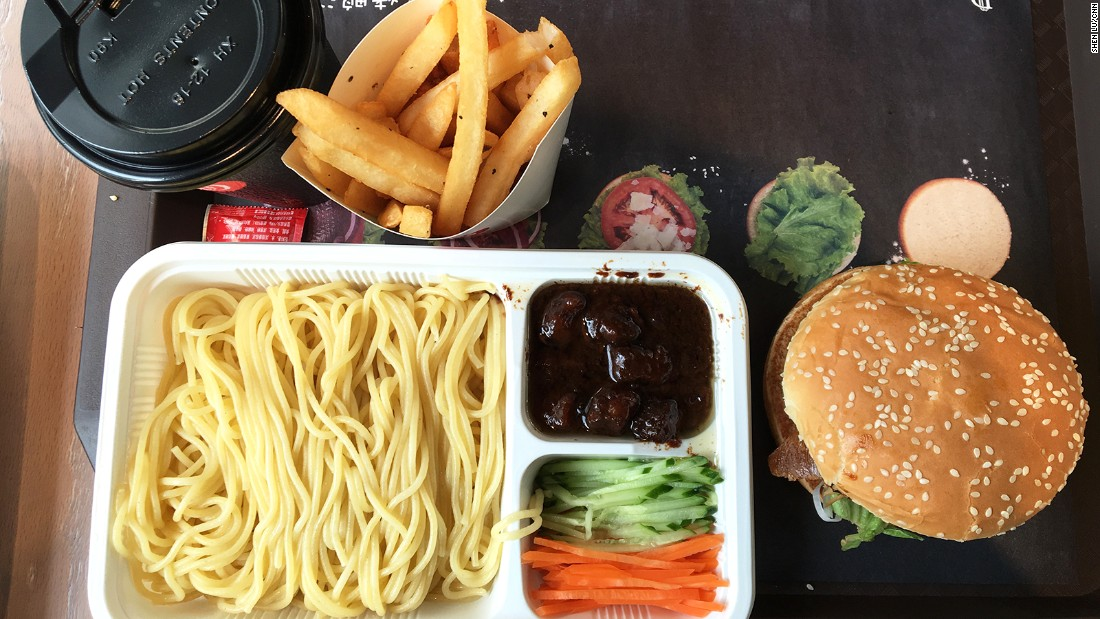 Including a glass of soda -- or hot honey pomelo tea -- and fries, the duck burger combo costs 31 yuan ($4.70). The menu also includes reformed Zhajiangmian -- traditional Beijing-style noodles with minced pork sauce. The old school noodles have been replaced with spaghetti.
