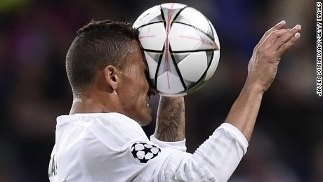 TOPSHOT - Real Madrid's Brazilian defender Danilo heads the ball during the UEFA Champions League round of 16, second leg football match Real Madrid FC vs AS Roma at the Santiago Bernabeu stadium in Madrid on March 8, 2016. / AFP / JAVIER SORIANOJAVIER SORIANO/AFP/Getty Images