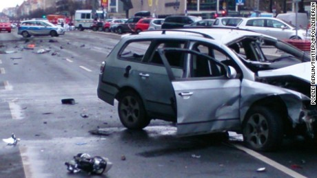 Photo tweeted by Berlin Police showing the aftermath of a car bomb explosion in the city.