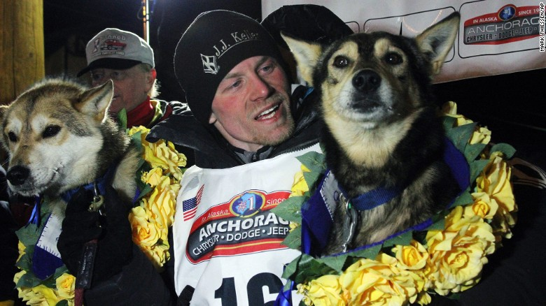 Dallas Seavey with his lead dogs Reef, left, and Tide.